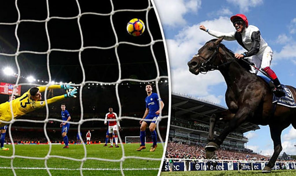 A split image with a goalkeeper diving to save a shot in a football game on one side and a jokey celebrating a win on a horse on the other side.