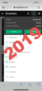 Screenshot of Smarkets balance using the horse lay betting system in 2019
